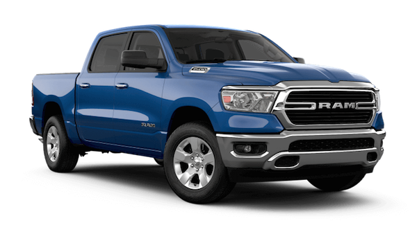 A blue 2019 Ram 1500 Big Horn/Lone Star