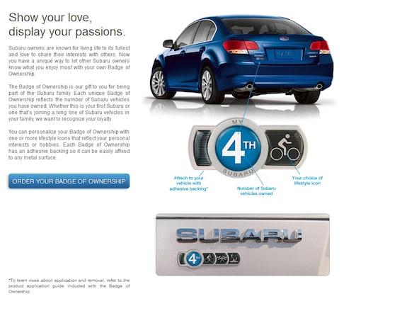 Who Owns Subaru >> Subaru Badge Of Ownership