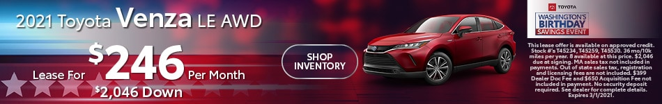 2021 Toyota Venza LE AWD- February Lease Offer