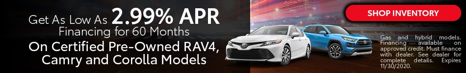 Get As Low As 2.99% APR Financing for 60 Months