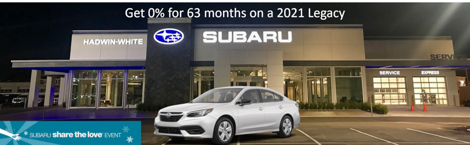 0% APR Financing for 63 mos. on a new 2021 Legacy