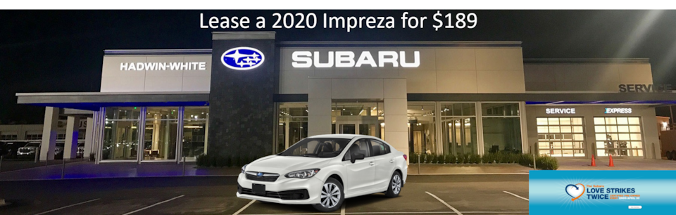Lease a new 2020 Impreza for $189/Month