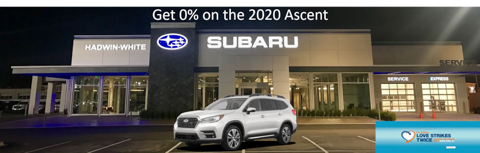 0% APR Financing for 63 mos. on all new 2020 Ascent Models
