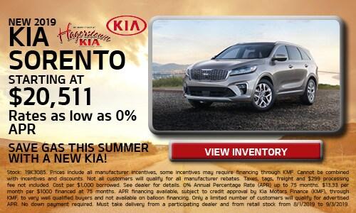 August 2019 Kia Sorento Offers