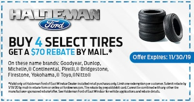 Buy 4 Select Tires, Get a $70 Rebate by Mail