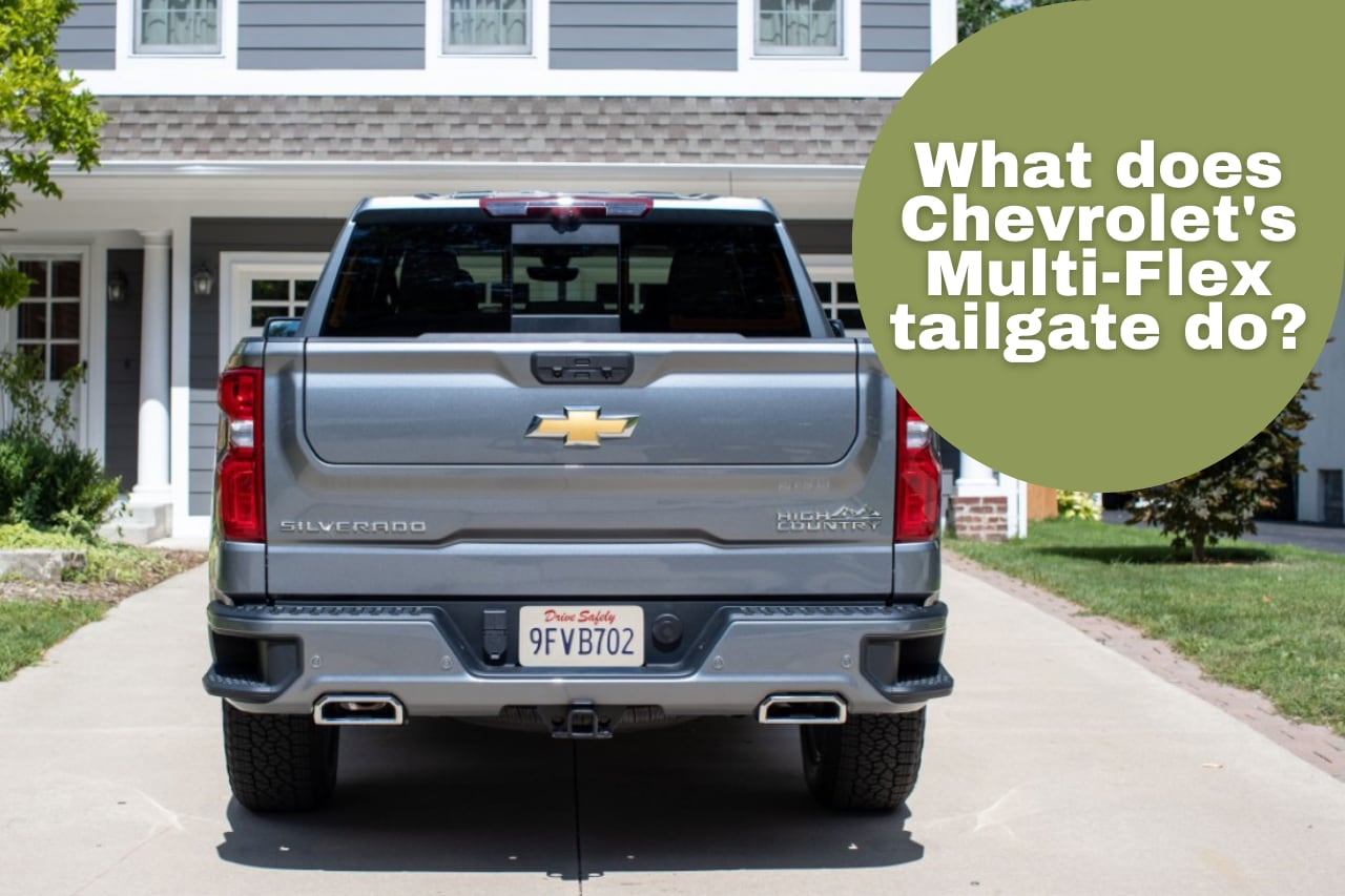 "Rear View of Chevrolet Silverado truck with new tailgate and ""what does Chevrolet's Multi-Flex tailgate do?"""