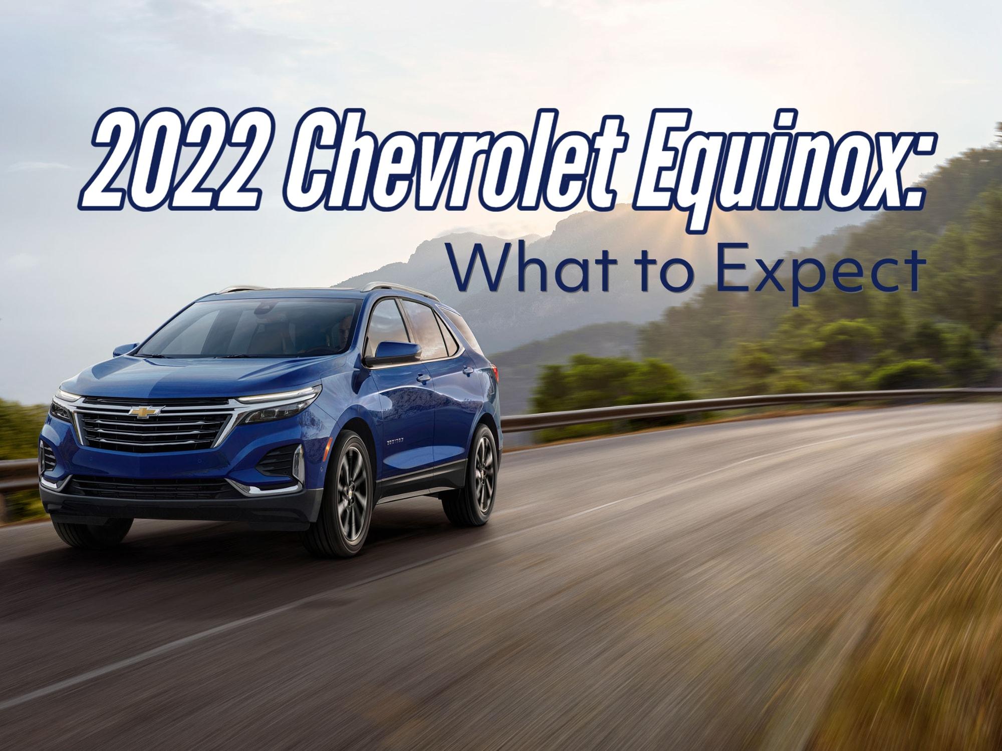 Blue 2022 Chevrolet Equinox SUV driving on hillside