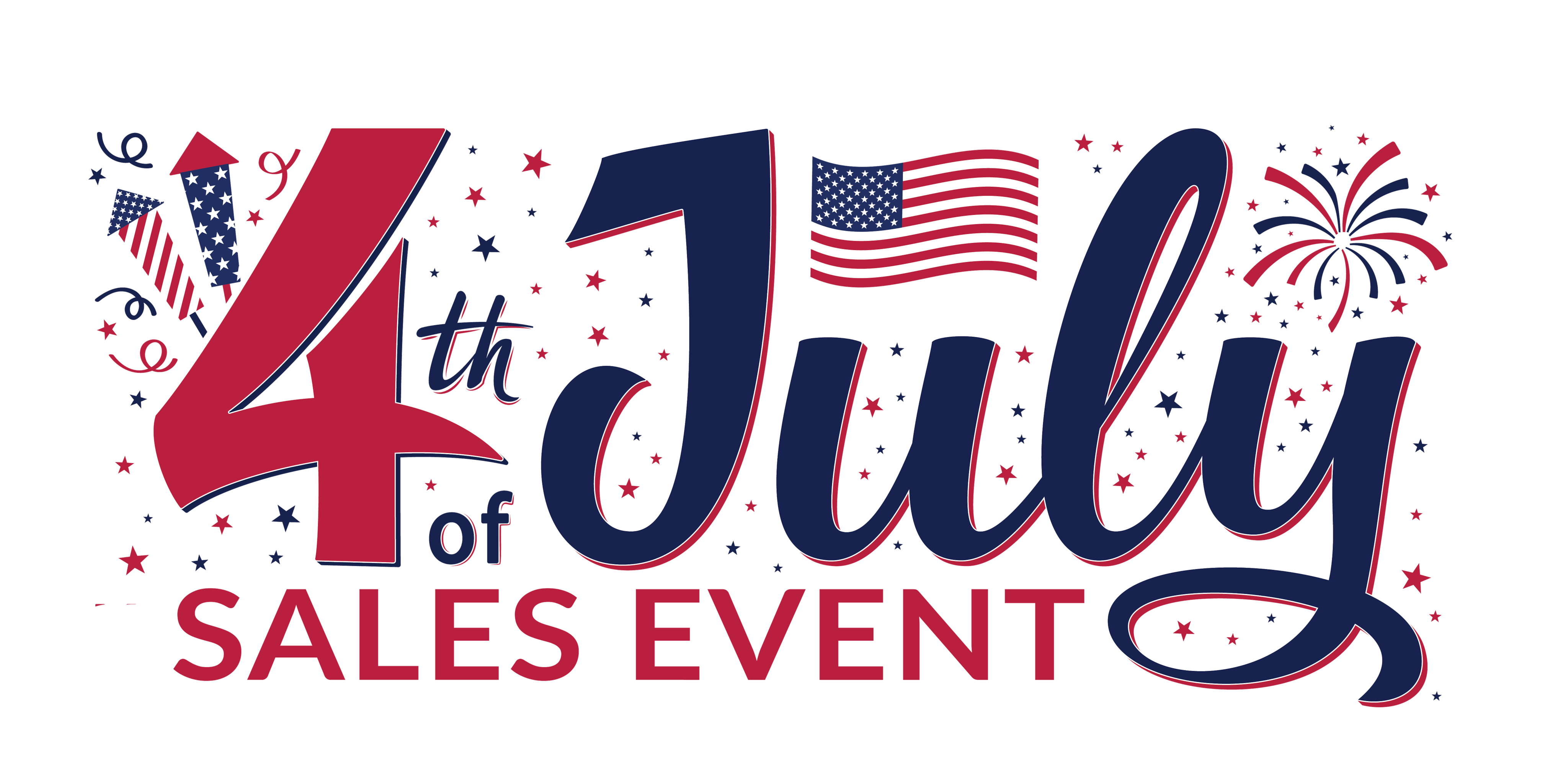Red White and Blue 4th of July sales event logo