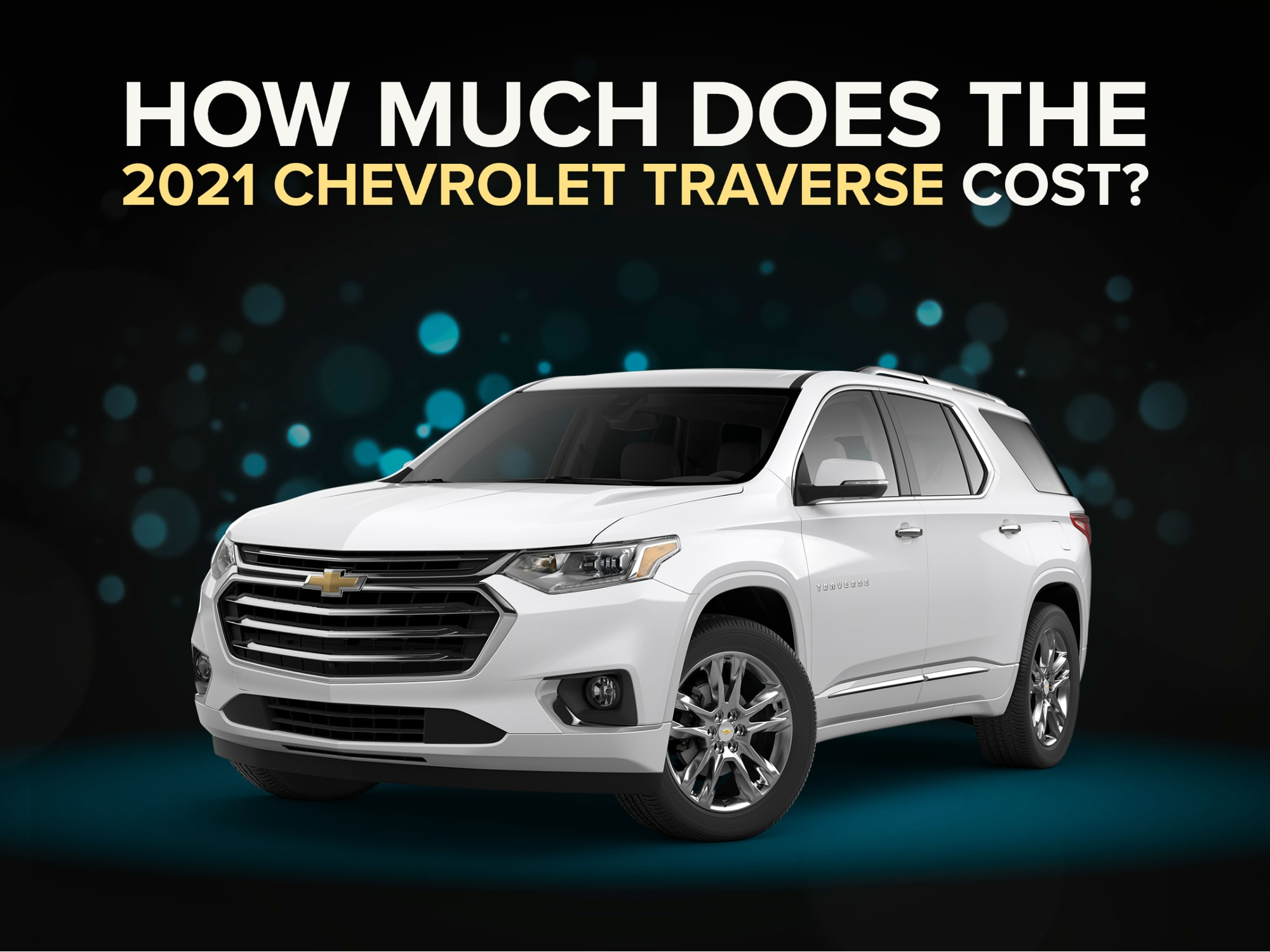 Front 3/4 view of white Chevrolet Traverse SUV with Blue Bokeh Background