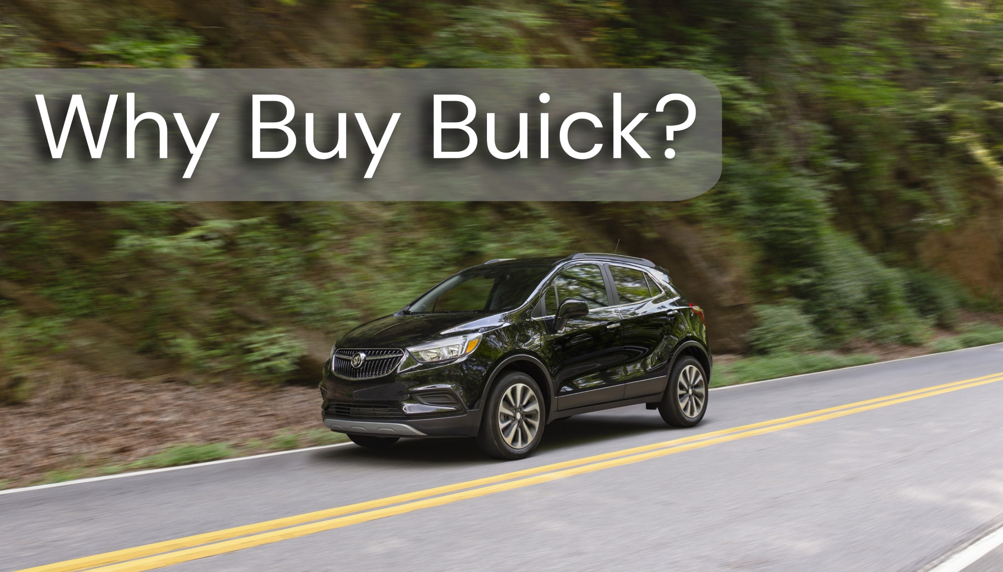 Black Buick Encore Front 3/4 View Driving