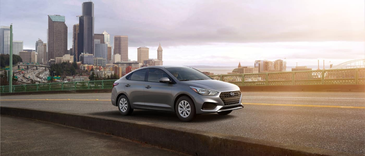 2020 Silver Hyundai Accent Driving on the Highway Outside the City