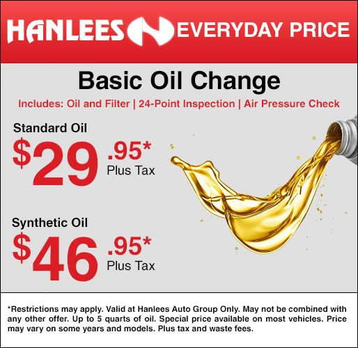 Oil Change Special >> Service Specials Hanlees Auto Group