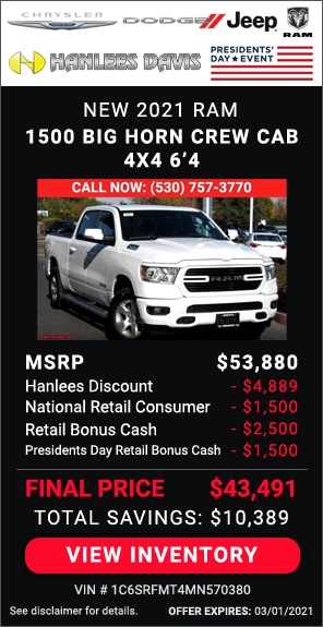 Up to $10,389 off MSRP - New 2021 Ram 1500 Big Horn Crew Cab 4x4 6'4