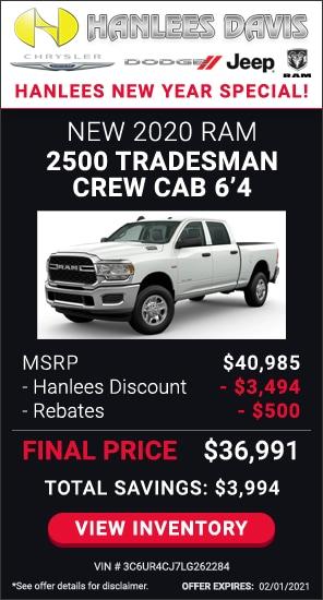 Total Savings: $3,994 - New 2020 Ram 2500 Tradesman Crew Cab 6'4