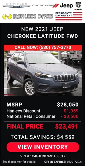 Up to $4,559 off MSRP - New 2021 Jeep Cherokee Latitude FWD
