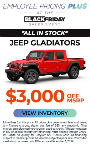 $3,000 Hanlees Discount on all new Jeep Gladiators in stock