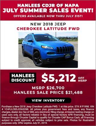 New 2018 Jeep Cherokee Latitude FWD