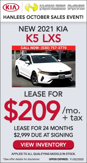 Lease: $209 per month for 24 months. $2,999 due at signing for select 2021 Kia K5 LXS