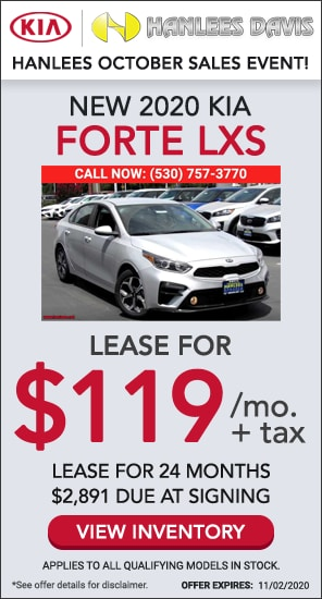Lease: $119 per month for 24 months. $2,891 due at signing for select 2020 Kia Forte LXS