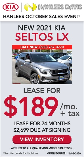 Lease: $189 per month for 24 months. $2,699 due at signing for select 2021 Kia Seltos LX