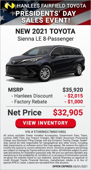 Up to $3,015 off MSRP - New 2021 Toyota Sienna LE 8-Passenger