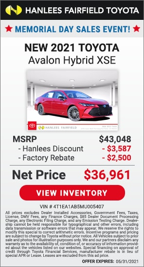 Up to $6,087 off MSRP - New 2021 Toyota Avalon Hybrid XSE