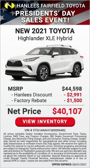 Up to $4,491 off MSRP - New 2021 Toyota Highlander XLE Hybrid