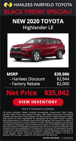 Up to $4,944 off MSRP - New 2020 Toyota Highlander LE