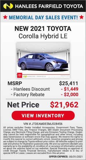 Up to $3,449 off MSRP - New 2021 Toyota Corolla Hybrid LE