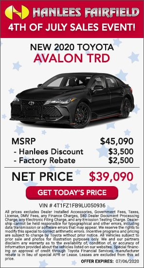 Up to $6,000 off MSRP - New 2020 Toyota Avalon TRD