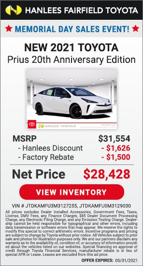 Up to $3,126 off MSRP - New 2021 Toyota Prius 20th Anniversary Edition