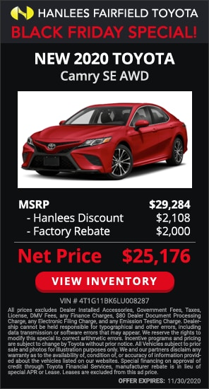 Up to $4,108 off MSRP - New 2020 Toyota Camry SE AWD