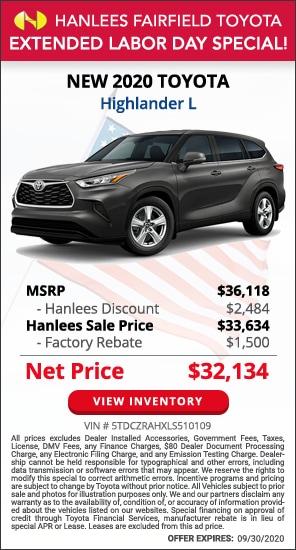Up to $3,984 off MSRP - New 2020 Toyota Highlander L