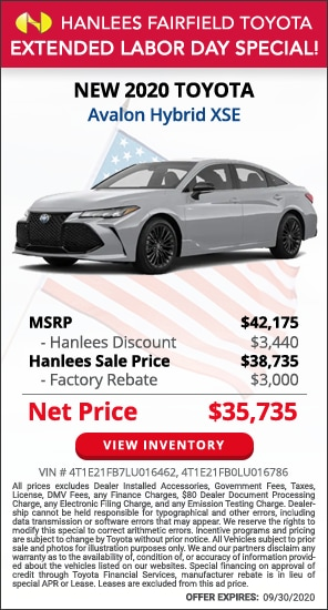 Up to $6,440 off MSRP - New 2020 Toyota Avalon Hybrid XSE