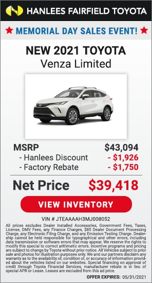 Up to $3,676 off MSRP - New 2021 Toyota Venza Limited