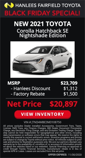 Up to $2,812 off MSRP - New 2021 Toyota Corolla Hatchback SE Nightshade