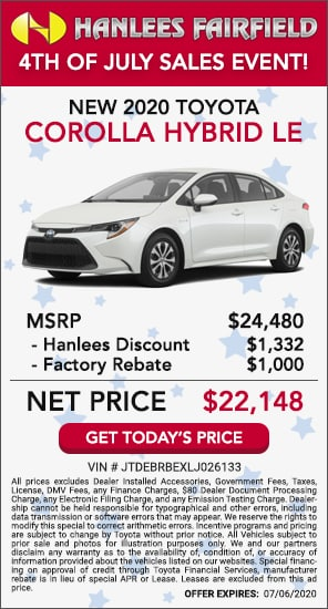 Up to $2,332 off MSRP - New 2020 Toyota Corolla Hybrid LE