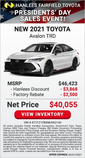 Up to $6,368 off MSRP - New 2021 Toyota Avalon TRD