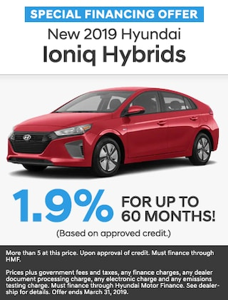 Financing Offer : 1.9% APR for 60 months on select Hyundai Ioniq Hybrid models
