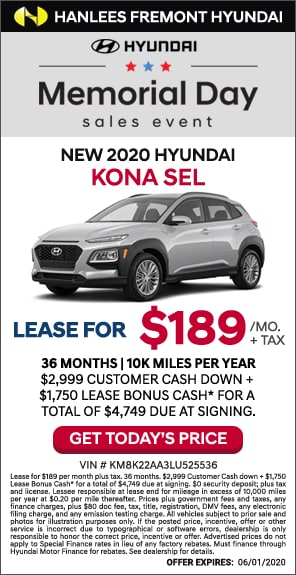 $189/mo. + tax - New 2020 Hyundai Kona SEL