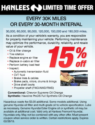 Every 30k miles or 30-month Interval