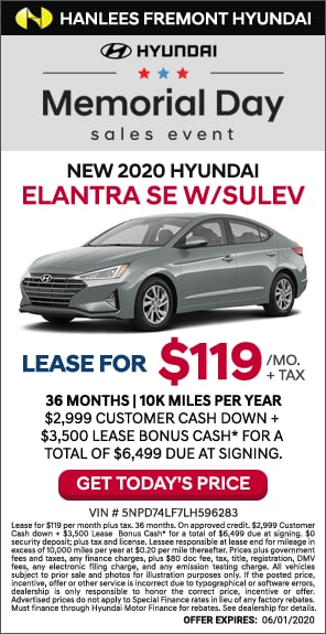 $119/mo. + tax - New 2020 Hyundai Elantra SE