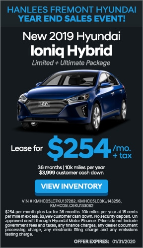 $254/month + tax - New 2019 Hyundai Ioniq Hybrid Limited Ultimate