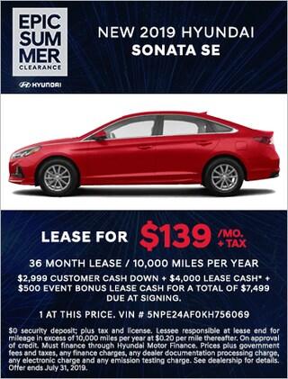 New 2019 Hyundai Sonata SE Lease