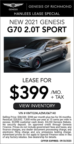 Lease for $399/mo. + tax - New 2021 Genesis G70 2.0T Sport