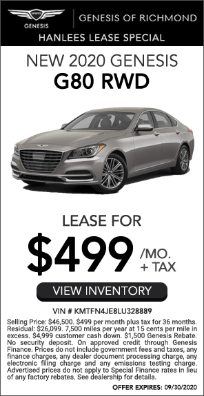 Lease for $499/mo. + tax - New 2020 Genesis G80 RWD