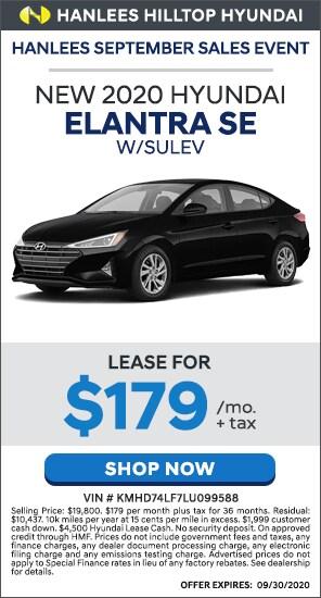 Lease for $179/mo. + tax - New 2020 Hyundai Elantra SE w/SULEV