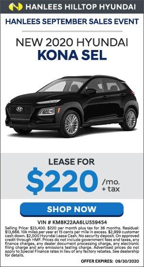 Lease for $220/mo. + tax - New 2020 Hyundai Kona SEL