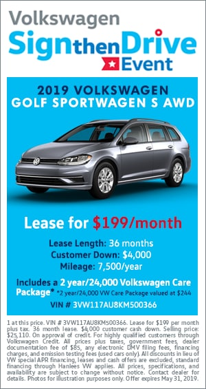 Sign Then Drive - 2019 VW GOLF SPORTWAGEN S AWD