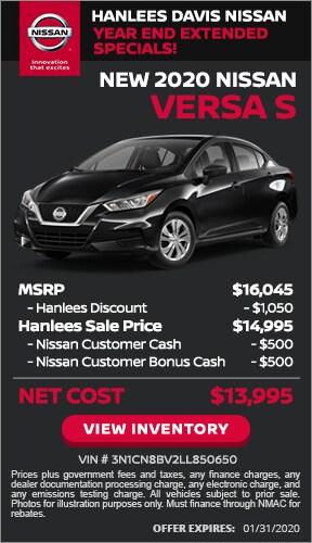 $2,050 off MSRP - New 2020 Nissan Versa S